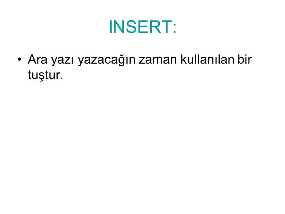 INSERT: Ara yazı yazacağın zaman kullanılan bir tuştur.