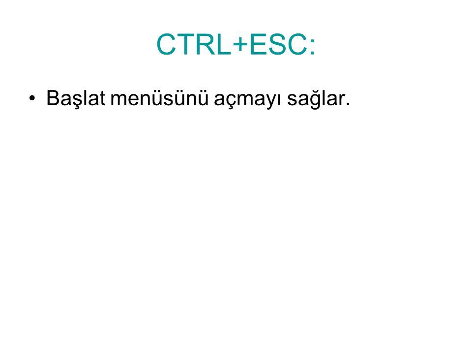 CTRL+ESC: Başlat menüsünü açmayı sağlar.