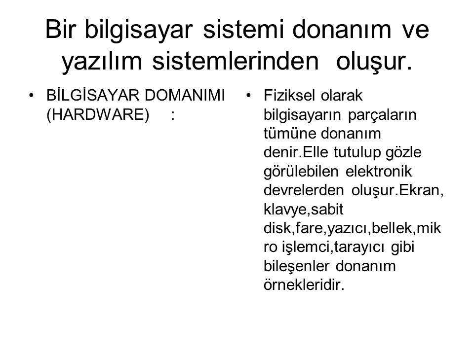 Bir bilgisayar sistemi donanım ve yazılım sistemlerinden oluşur.