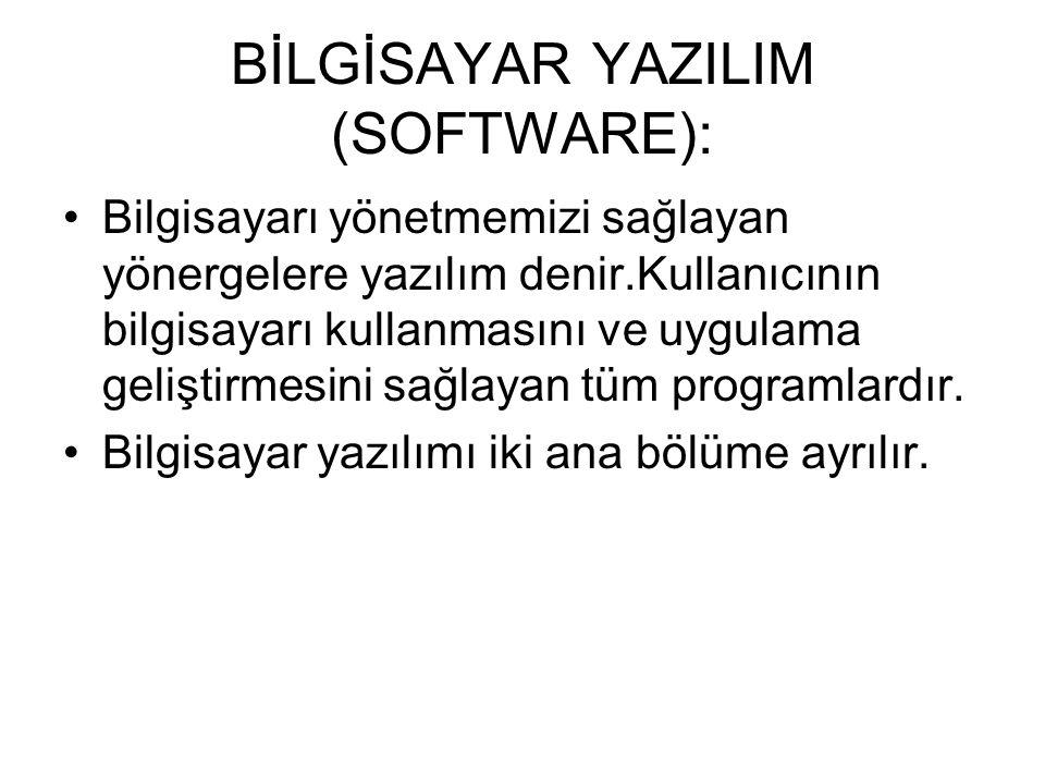 BİLGİSAYAR YAZILIM (SOFTWARE):