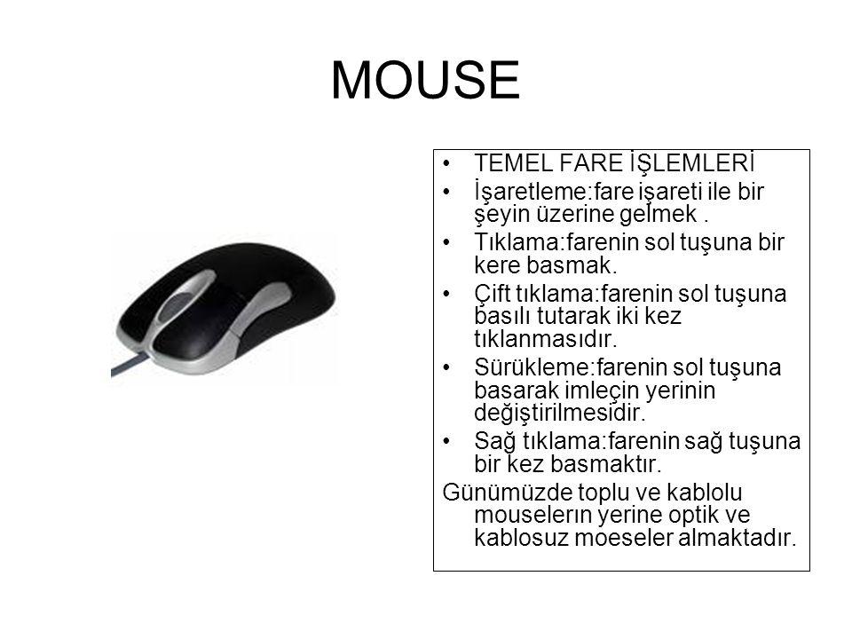 MOUSE TEMEL FARE İŞLEMLERİ