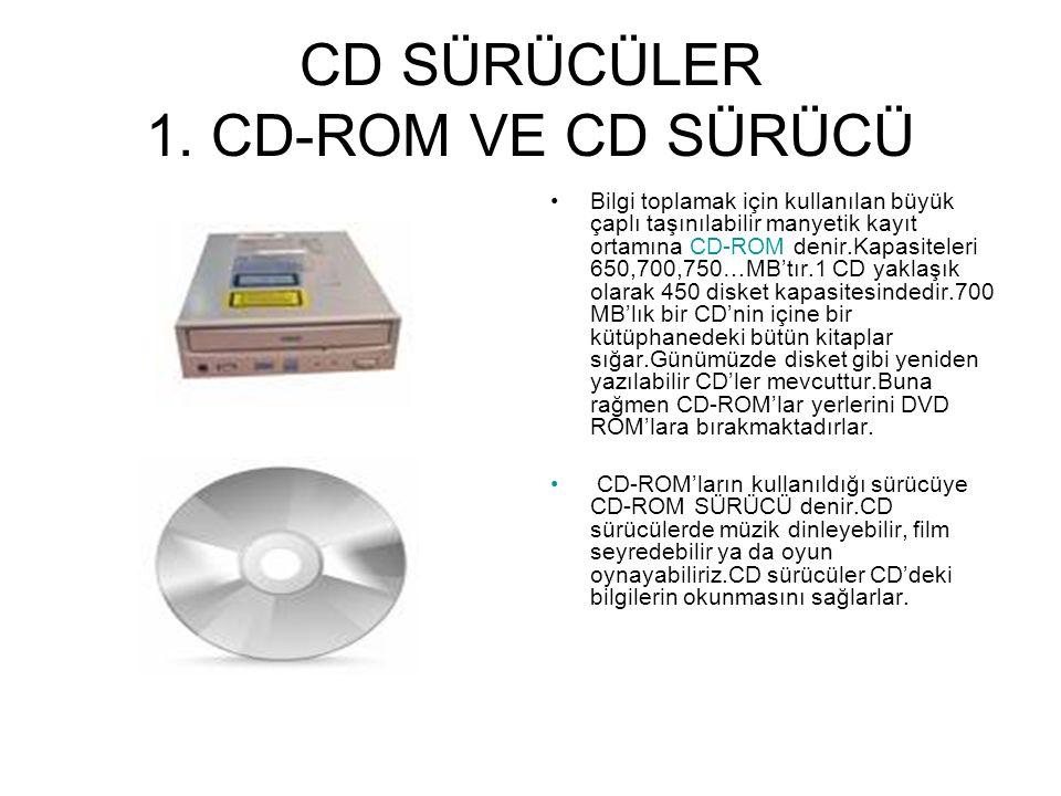CD SÜRÜCÜLER 1. CD-ROM VE CD SÜRÜCÜ