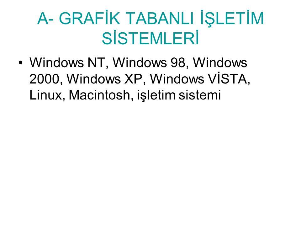 A- GRAFİK TABANLI İŞLETİM SİSTEMLERİ