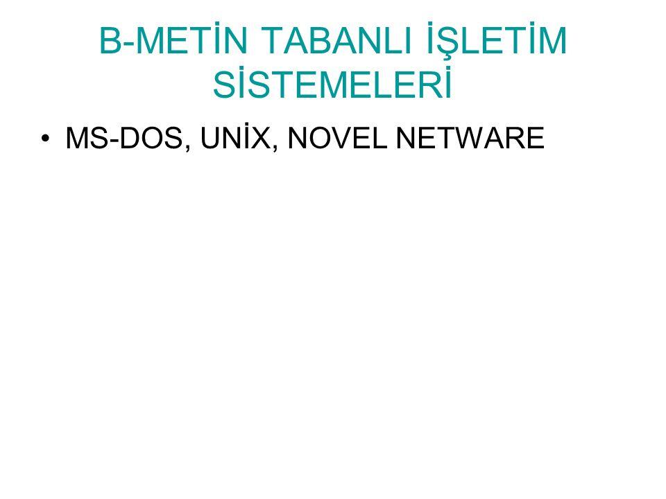 B-METİN TABANLI İŞLETİM SİSTEMELERİ