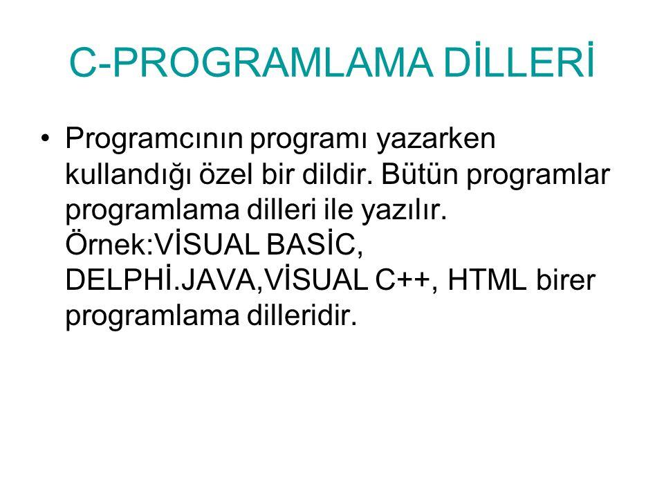 C-PROGRAMLAMA DİLLERİ