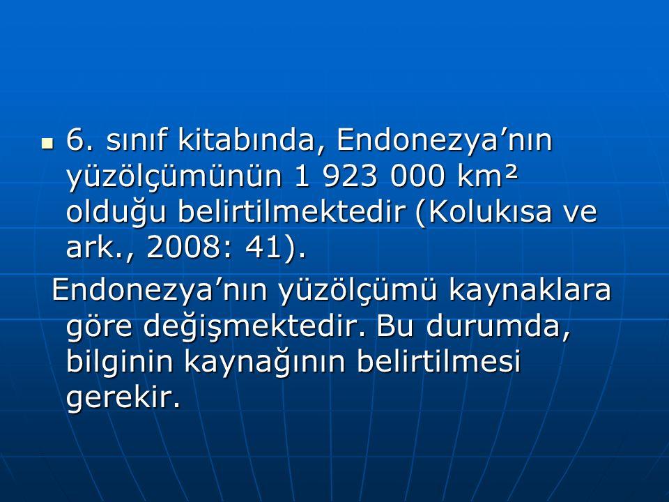 6. sınıf kitabında, Endonezya'nın yüzölçümünün 1 923 000 km² olduğu belirtilmektedir (Kolukısa ve ark., 2008: 41).