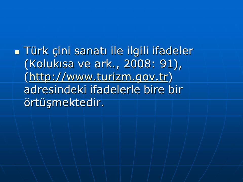 Türk çini sanatı ile ilgili ifadeler (Kolukısa ve ark