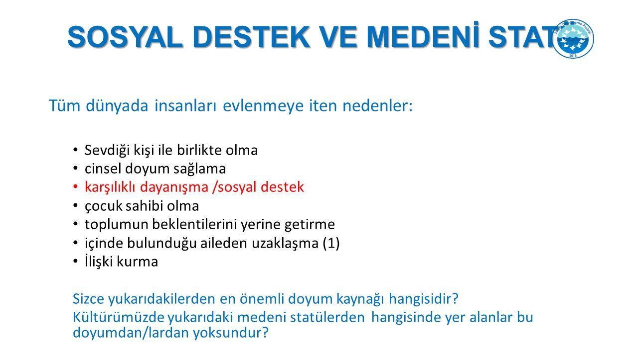 SOSYAL DESTEK VE MEDENİ STATÜ