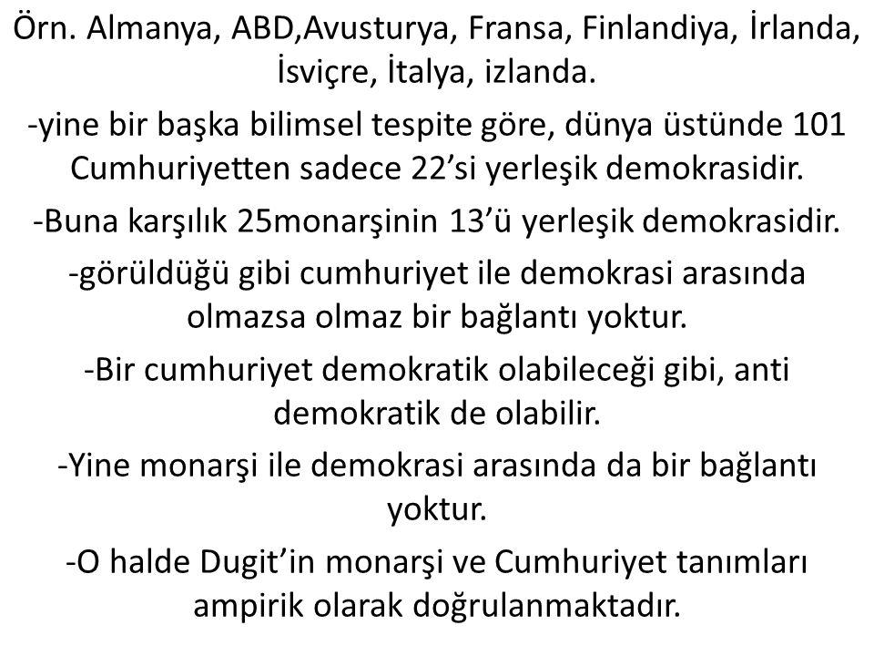 -Buna karşılık 25monarşinin 13'ü yerleşik demokrasidir.