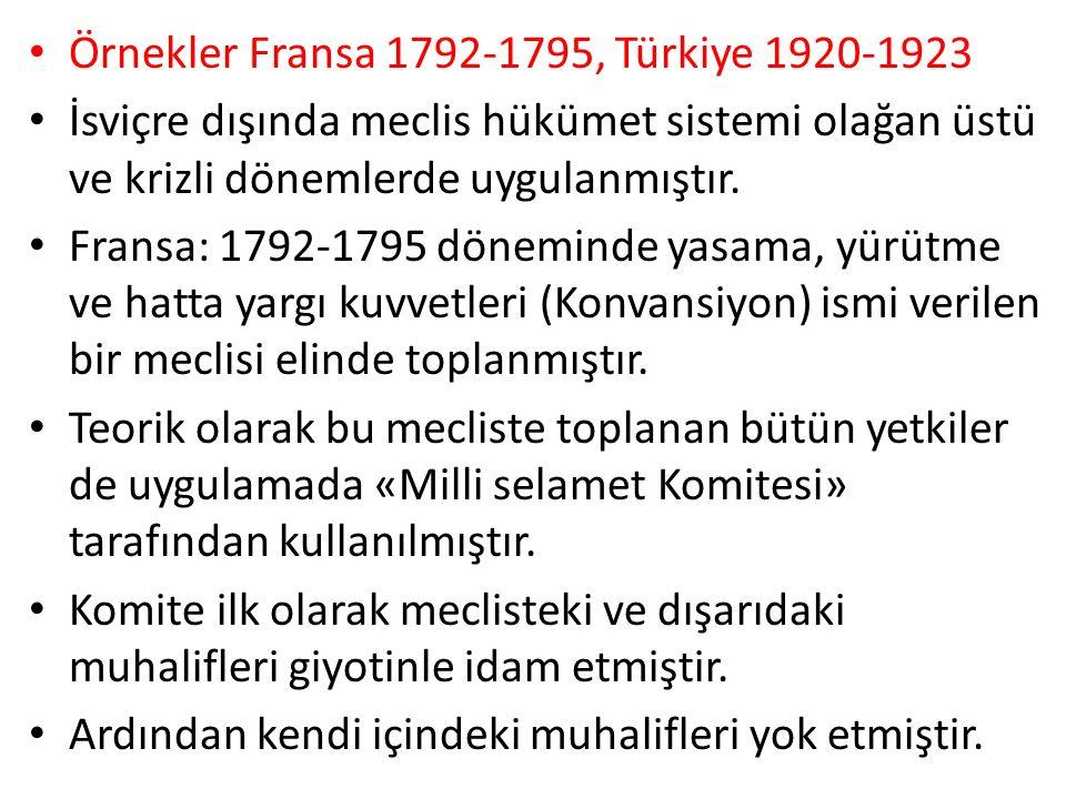 Örnekler Fransa 1792-1795, Türkiye 1920-1923
