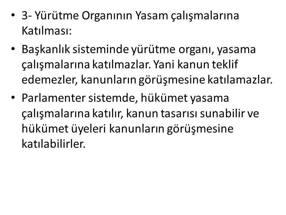 3- Yürütme Organının Yasam çalışmalarına Katılması: