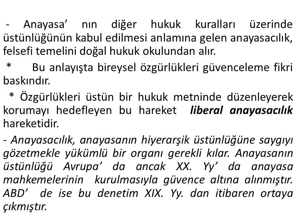 - Anayasa' nın diğer hukuk kuralları üzerinde üstünlüğünün kabul edilmesi anlamına gelen anayasacılık, felsefi temelini doğal hukuk okulundan alır.