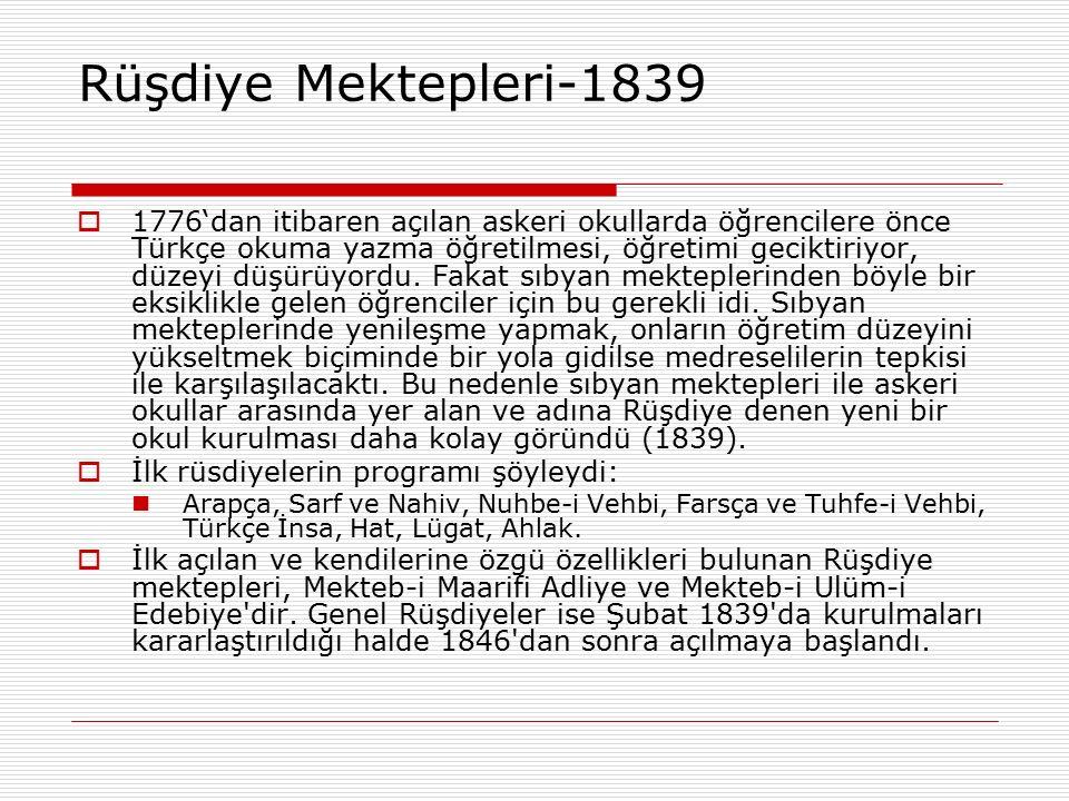 Rüşdiye Mektepleri-1839