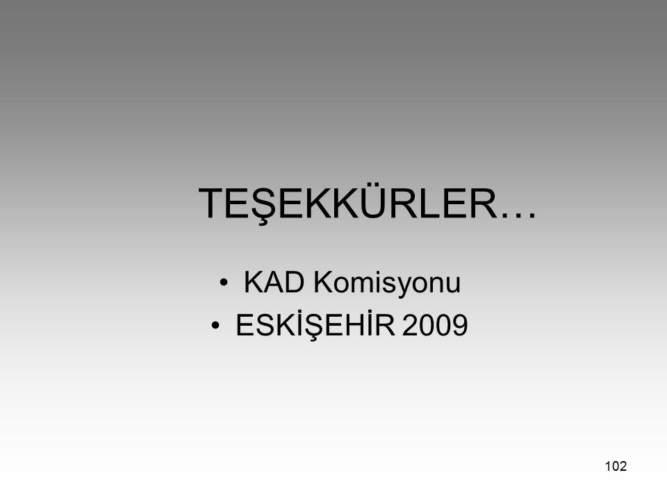 TEŞEKKÜRLER… KAD Komisyonu ESKİŞEHİR 2009