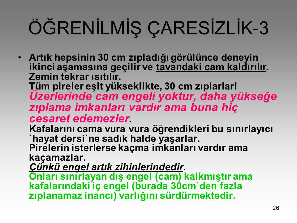 ÖĞRENİLMİŞ ÇARESİZLİK-3