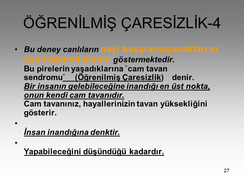 ÖĞRENİLMİŞ ÇARESİZLİK-4