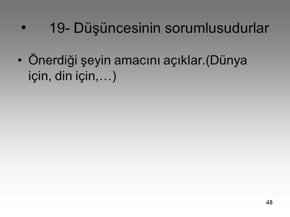 • 19- Düşüncesinin sorumlusudurlar