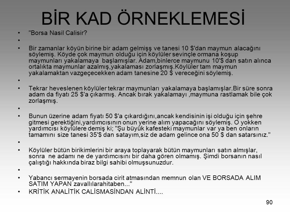 BİR KAD ÖRNEKLEMESİ Borsa Nasil Calisir
