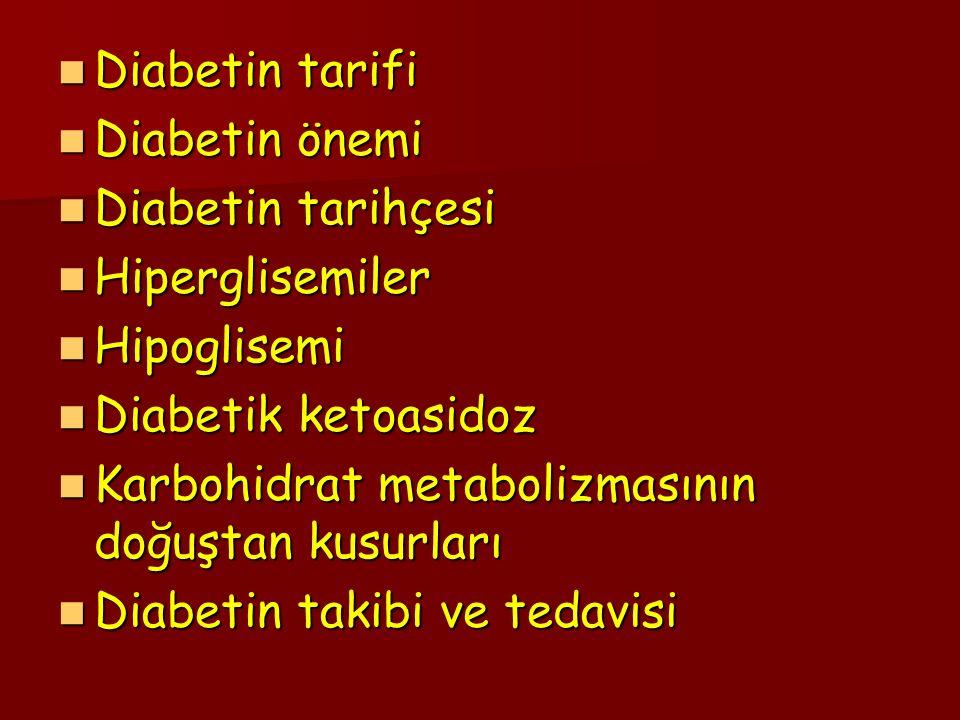 Diabetin tarifi Diabetin önemi. Diabetin tarihçesi. Hiperglisemiler. Hipoglisemi. Diabetik ketoasidoz.