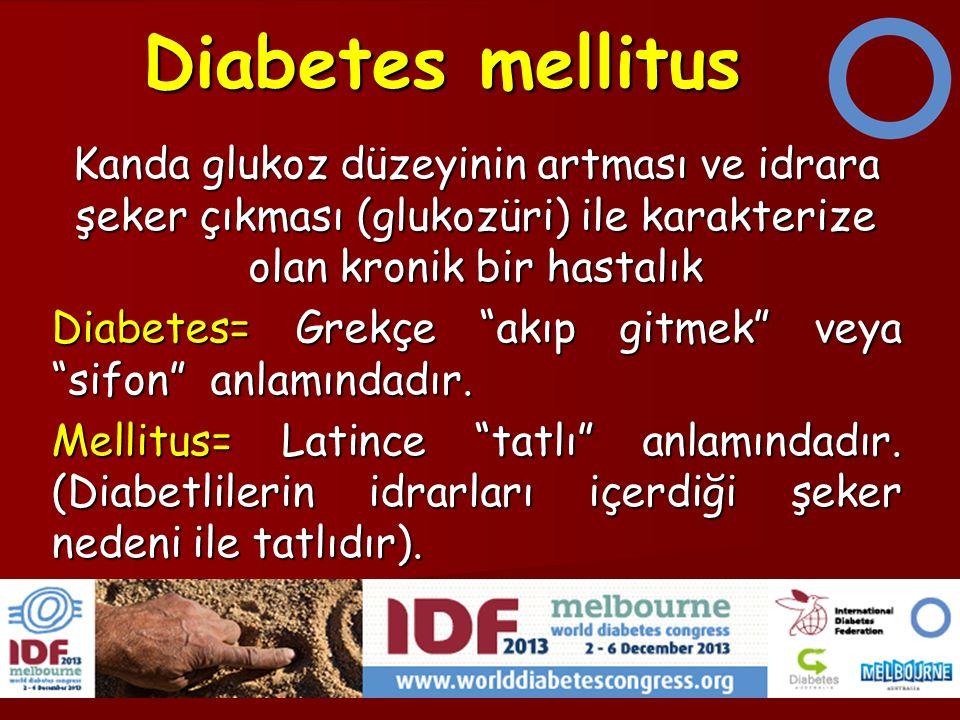 Diabetes mellitus Kanda glukoz düzeyinin artması ve idrara şeker çıkması (glukozüri) ile karakterize olan kronik bir hastalık.