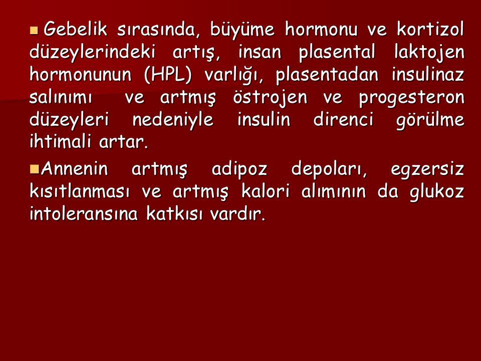 Gebelik sırasında, büyüme hormonu ve kortizol düzeylerindeki artış, insan plasental laktojen hormonunun (HPL) varlığı, plasentadan insulinaz salınımı ve artmış östrojen ve progesteron düzeyleri nedeniyle insulin direnci görülme ihtimali artar.