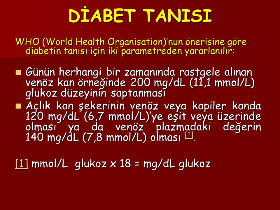 DİABET TANISI WHO (World Health Organisation)'nun önerisine göre diabetin tanısı için iki parametreden yararlanılır: