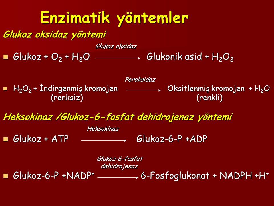 Enzimatik yöntemler Glukoz oksidaz yöntemi Glukoz oksidaz