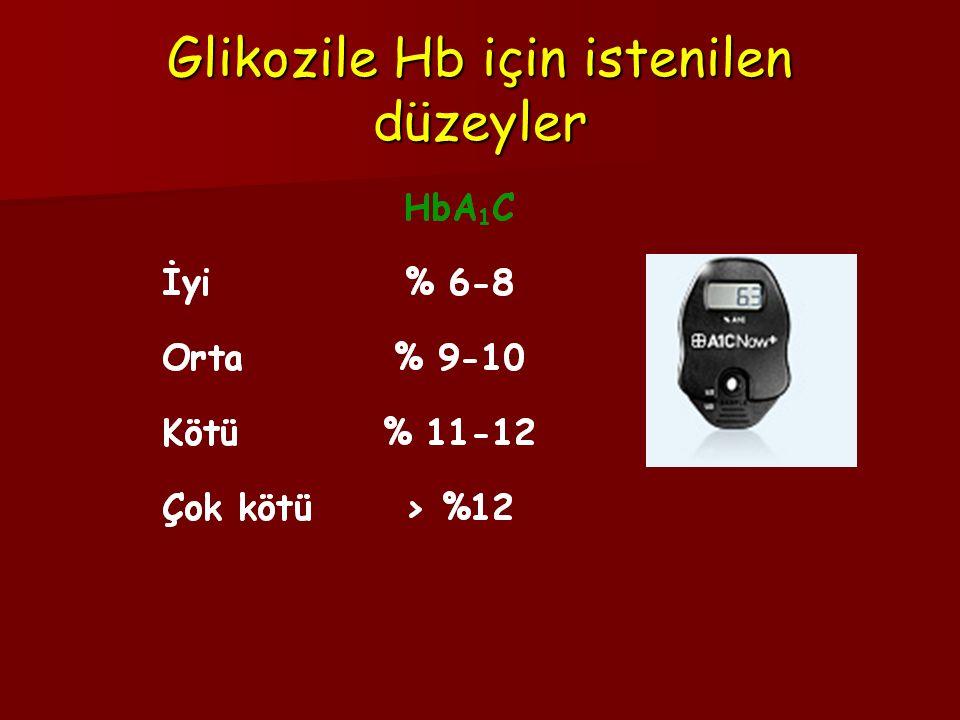 Glikozile Hb için istenilen düzeyler