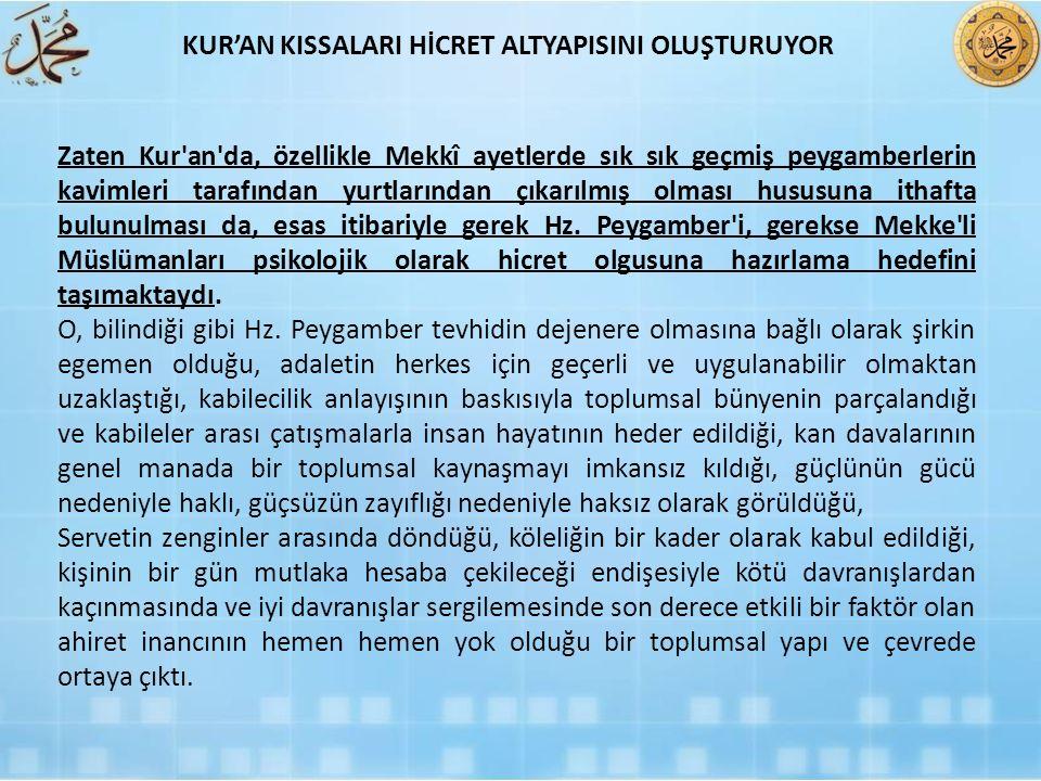 KUR'AN KISSALARI HİCRET ALTYAPISINI OLUŞTURUYOR