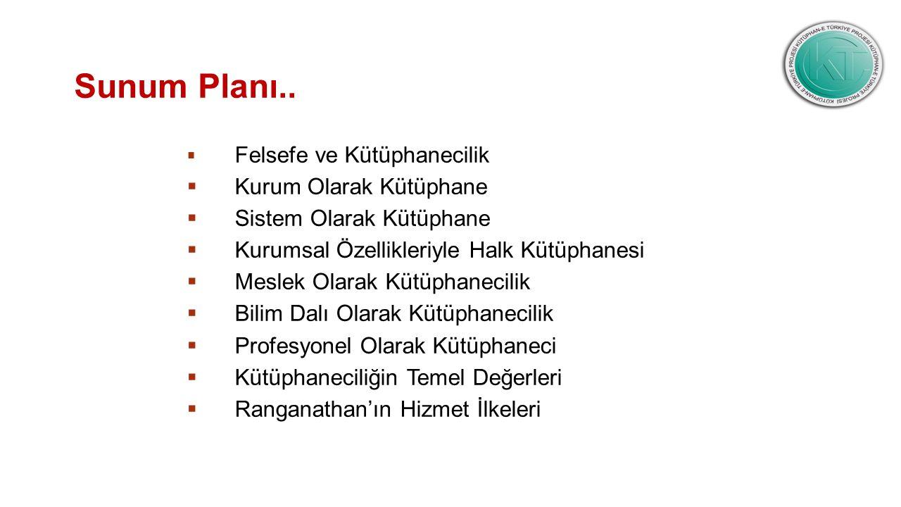 Sunum Planı.. Kurum Olarak Kütüphane Sistem Olarak Kütüphane
