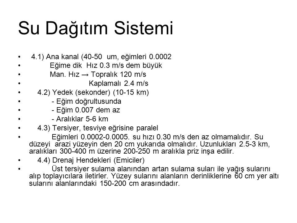 Su Dağıtım Sistemi 4.1) Ana kanal (40-50 um, eğimleri 0.0002