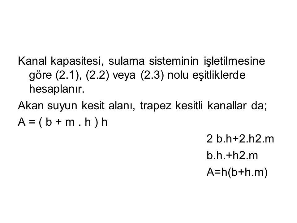 Kanal kapasitesi, sulama sisteminin işletilmesine göre (2. 1), (2