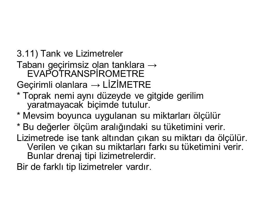 3.11) Tank ve Lizimetreler Tabanı geçirimsiz olan tanklara → EVAPOTRANSPİROMETRE. Geçirimli olanlara → LİZİMETRE.