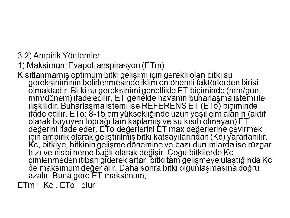 3.2) Ampirik Yöntemler 1) Maksimum Evapotranspirasyon (ETm)