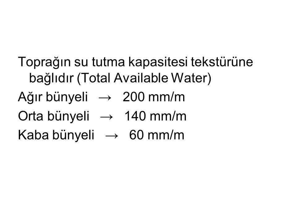 Toprağın su tutma kapasitesi tekstürüne bağlıdır (Total Available Water)