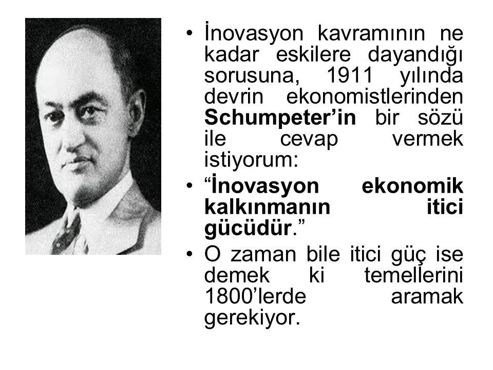 İnovasyon kavramının ne kadar eskilere dayandığı sorusuna, 1911 yılında devrin ekonomistlerinden Schumpeter'in bir sözü ile cevap vermek istiyorum: