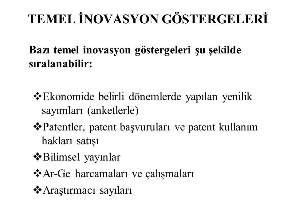 TEMEL İNOVASYON GÖSTERGELERİ