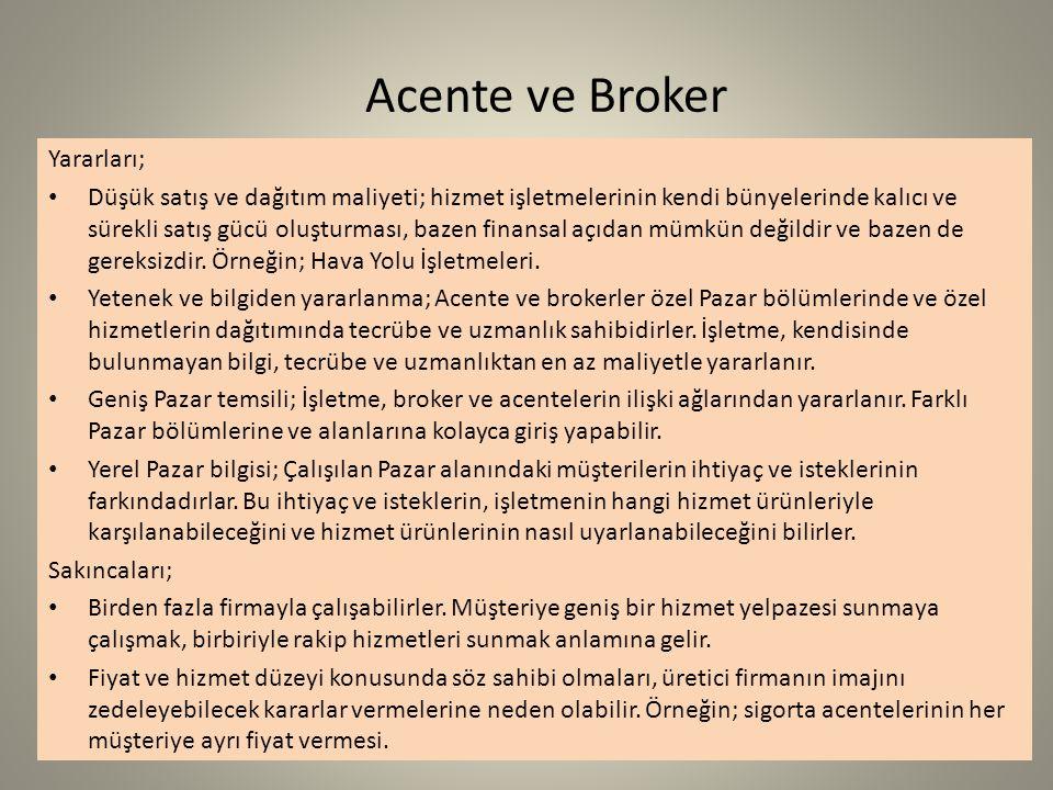 Acente ve Broker Yararları;