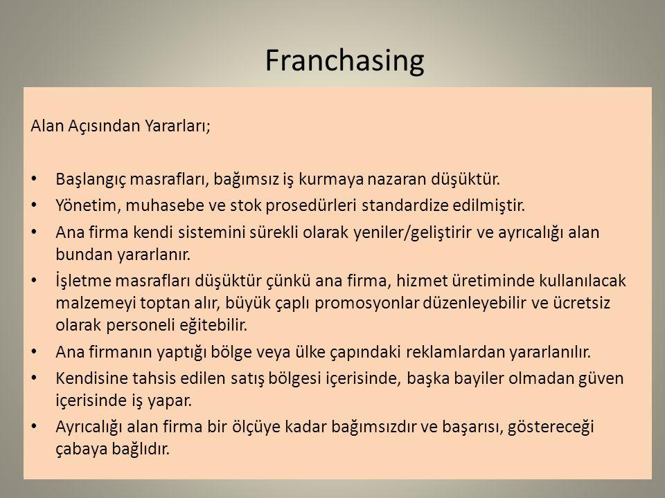 Franchasing Alan Açısından Yararları;