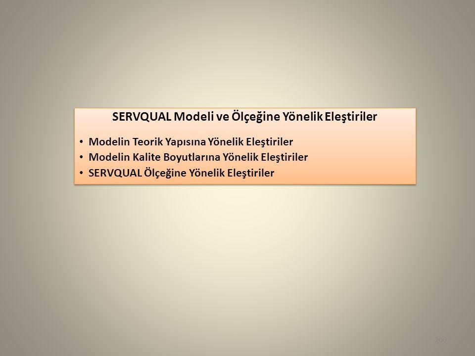 SERVQUAL Modeli ve Ölçeğine Yönelik Eleştiriler