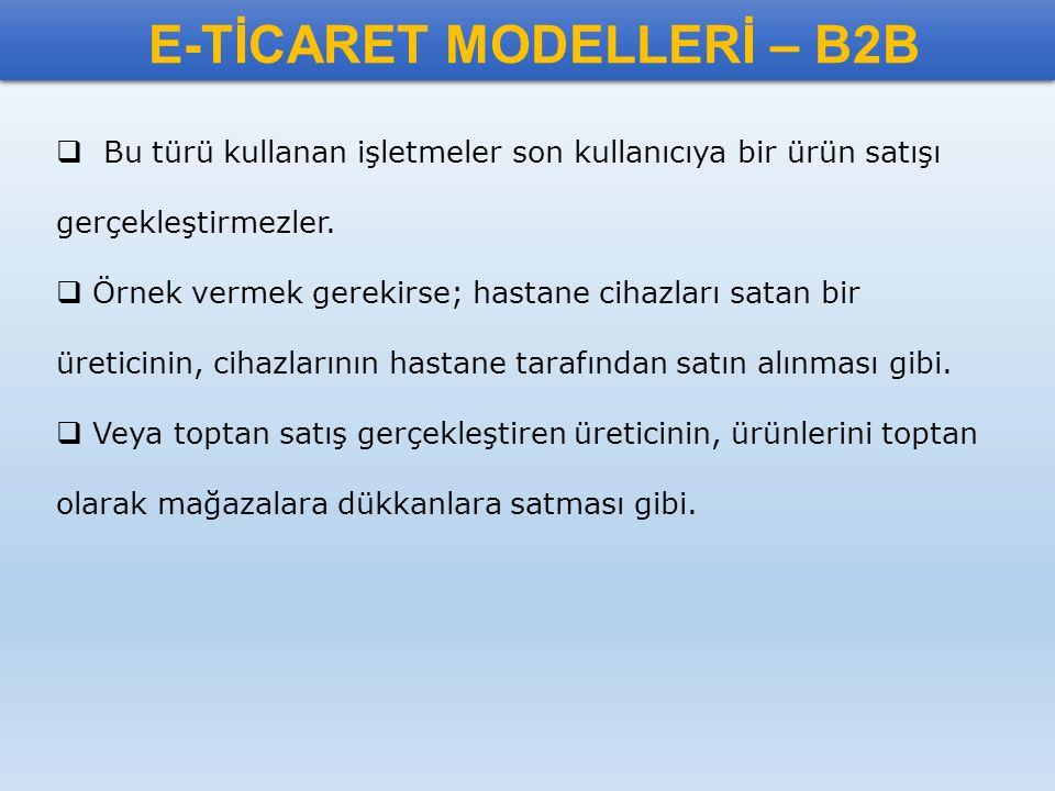 E-TİCARET MODELLERİ – B2B