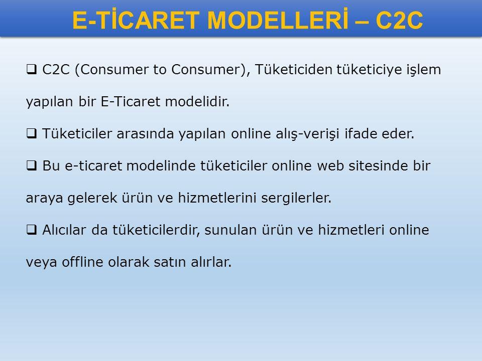 E-TİCARET MODELLERİ – C2C