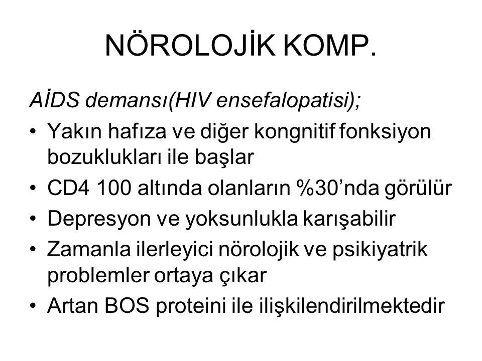 NÖROLOJİK KOMP. AİDS demansı(HIV ensefalopatisi);