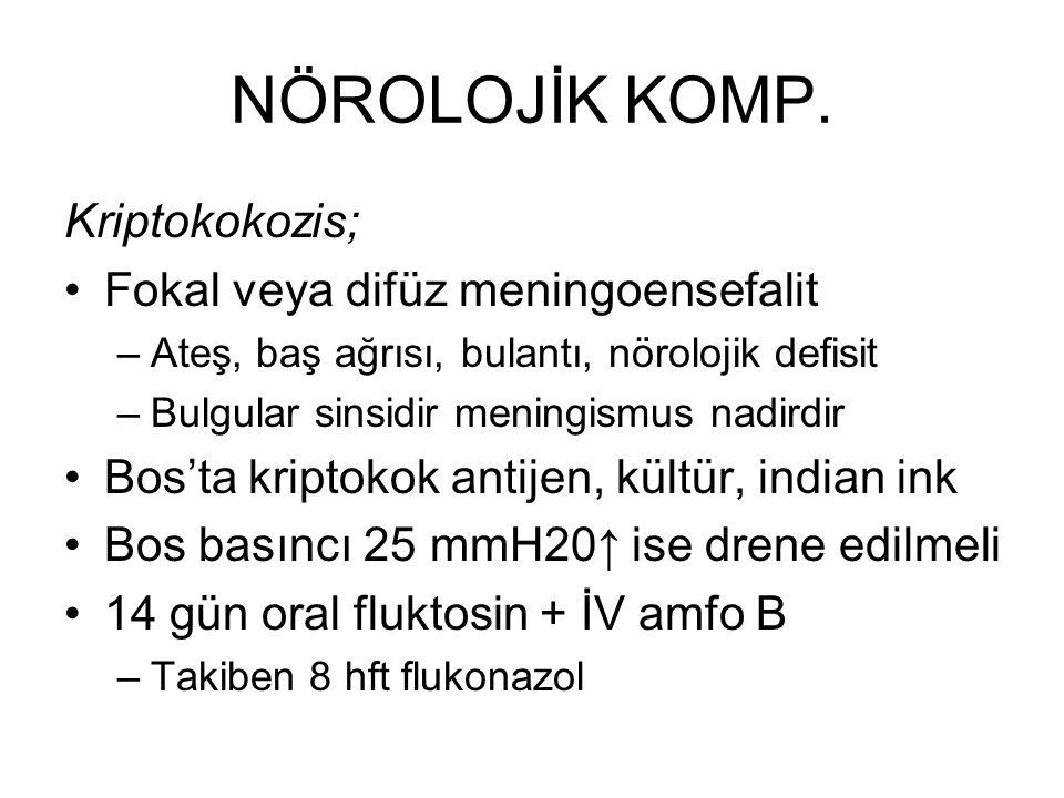 NÖROLOJİK KOMP. Kriptokokozis; Fokal veya difüz meningoensefalit