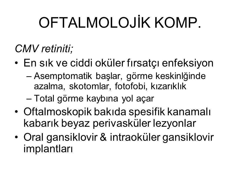 OFTALMOLOJİK KOMP. CMV retiniti;