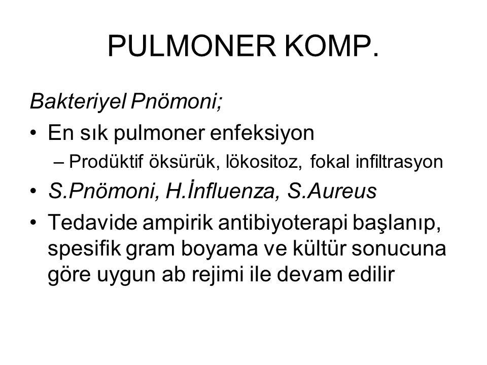 PULMONER KOMP. Bakteriyel Pnömoni; En sık pulmoner enfeksiyon