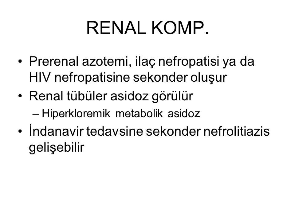 RENAL KOMP. Prerenal azotemi, ilaç nefropatisi ya da HIV nefropatisine sekonder oluşur. Renal tübüler asidoz görülür.