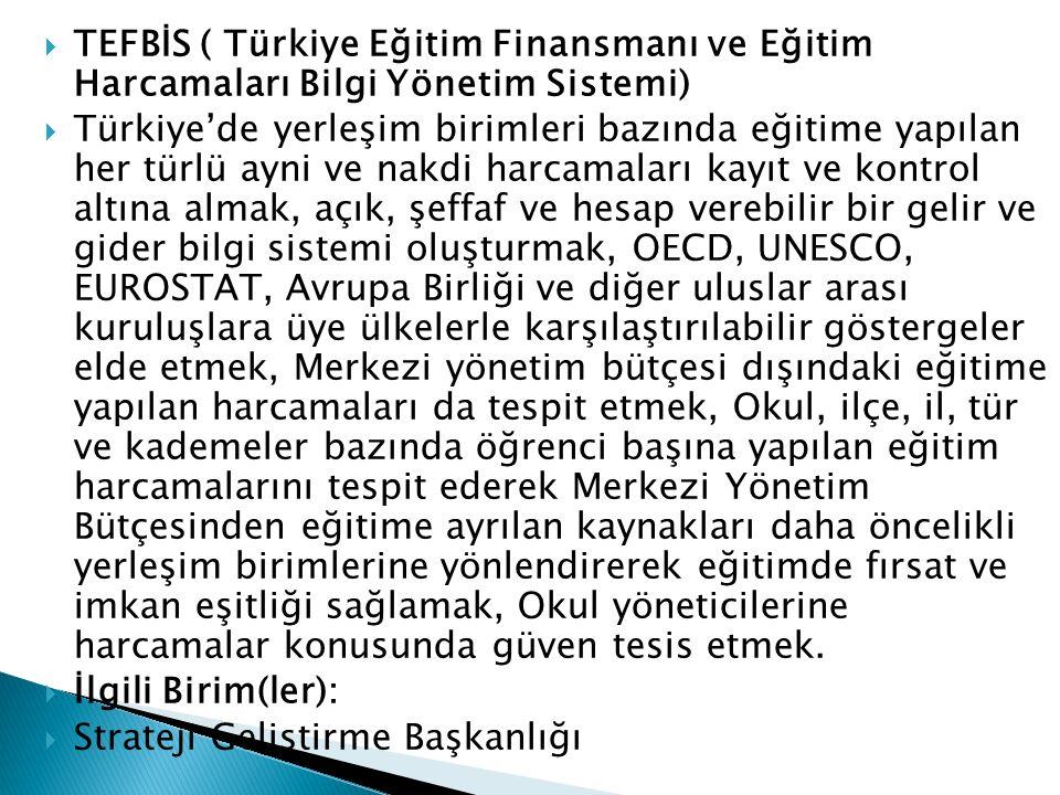 TEFBİS ( Türkiye Eğitim Finansmanı ve Eğitim Harcamaları Bilgi Yönetim Sistemi)