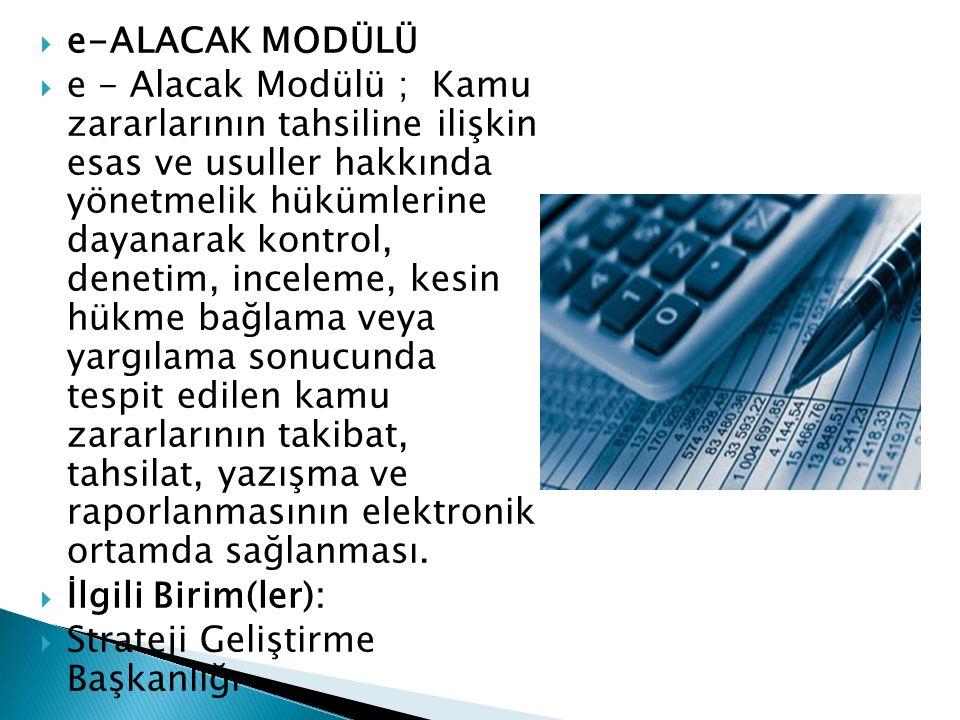 e-ALACAK MODÜLÜ