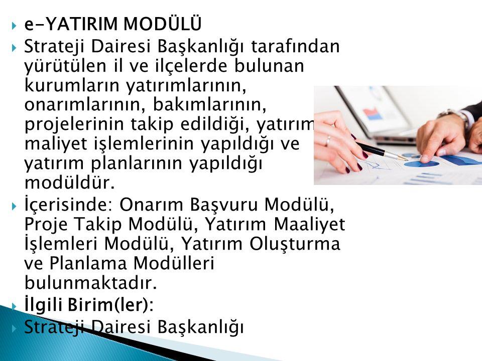e-YATIRIM MODÜLÜ